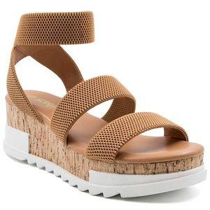 Wedge Sandals Platform Cork Elastic Strap Sandals